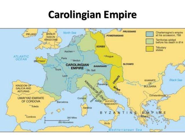 Carolingian Europe Carolingian Empire, Referring to King Charlemagne 748-814(Charles I) expanding the Frankish state from Charles Martel.