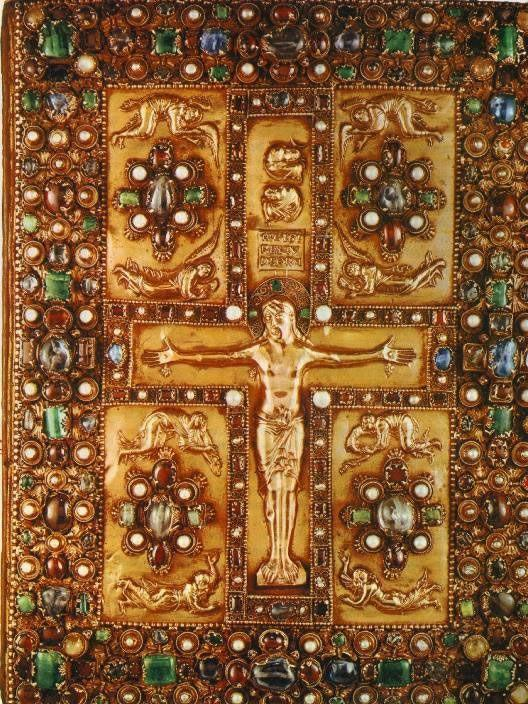 Carolingian Period Crucifixion, front cover of the Lindau Gospels, Saint Gall Switzerland 870 Taste for costly portable objects are a hallmark of art in the medieval period Carolingians commissioned