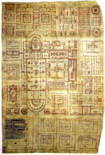 Carolingian Period Schematic plan for a new monastery from Saint Gall Switzerland 819 This became an ideal plan for a benedictine monastery, (referring to Saint Benedict) Benedict Order, which