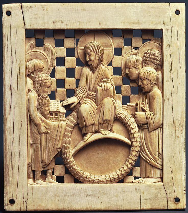Ottonian Empire Otto I presenting Magdeburg Cathedral to Christ, Magdeburg Germany 962968 Ivory small scale relief panels made for display in an Ottonian church.
