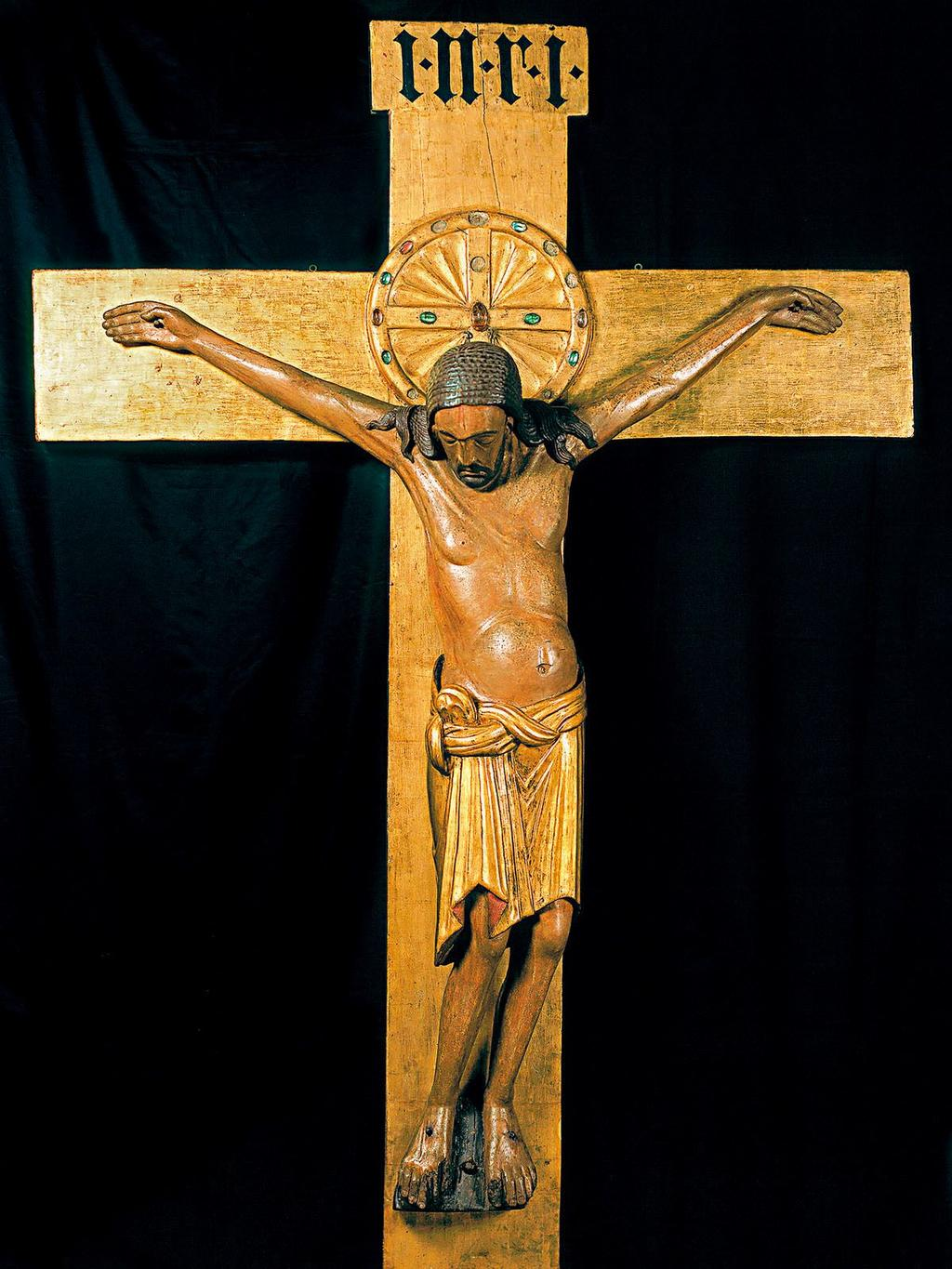 Ottonian Empire Gero Crucifix, Cologne Cathedral, Cologne Germany 970 Freestanding statuary was revived after a 500 year absence This cross was over 6ft tall Carved in oak, then painted and gilded in