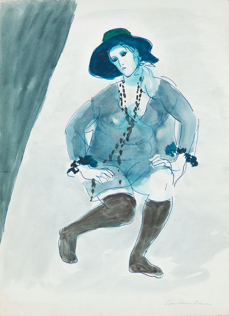 Black Stockings 1968 blue ink, watercolour and wash on paper 38.