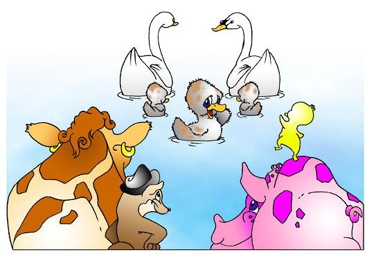 Buttercup Squeal Spencer Lucy Mother Slink All the animals came by to see Spencer. (very sad) I wish you did not have to go away. I am so sad. Me too, Buttercup. Hey! Look at those swans.