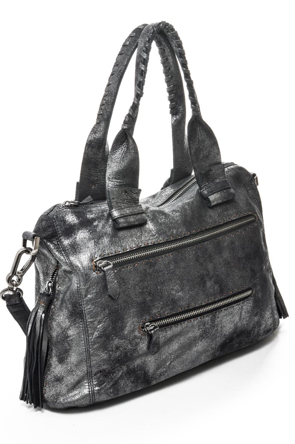 JOEL Whip-stitched Top Zip Shoulder Bag With Side Zippers