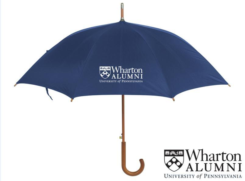 "Umbrellas Revolution Non Vented Wind Resistant Automatic Folding Umbrella 42"" arc, navy blue, auto open folding with matching rubberized handle."