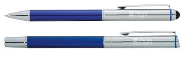 Pens Plastic Pen & Pencil Set Stylus Pen Set Pen set includes a ballpoint stylus and roller ball pen, and features a deep blue bottom barrel complemented with a polished chrome upper barrel.