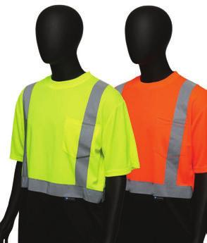 T-SHIRTS 47404/47405 Hi-Viz Color Block Safety Shirt Short Sleevedeved - Color block black bottom hides dirt and