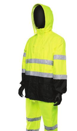 RAINWEAR 450/450SE Hi-Viz Color Block Rain Suit - Jacket: 2 front flap pockets with hook & loop closures; Hidden phone pocket on chest under storm flap - Bibs: Adjustable elastic