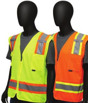 4725 /4726 Hi-Viz Two-Tone Surveyor s Safety Vest /Solid - Two-toned contrast tape, silver with colored border - D-ring slot - Mic tabs on both