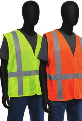 Safety Vest Solid - Color-block black bottoms hide dirt and grime - Mic tabs on both shoulders - Double pockets on chest with two compartments for