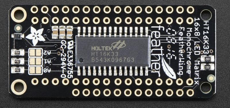 The Feather simply sends i2c commands to the chip to tell it what LEDs to light up and it is