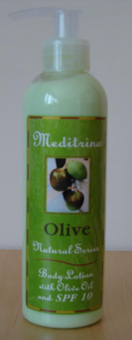 MEDITRINA Olive Oil Body Lotion formula contains 100% Olive Oil, Vitamin A and E - with a fresh and light texture.