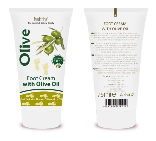 Olive Oil Foot Cream Foot Cream made by Mediterranean Olive Oil. This Foot Cream of new generation is produced by Extra Virgin Olive Oil.