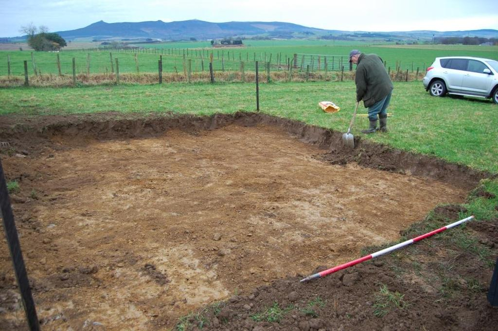 The subsoil was hard, compact clay. No archaeological features or finds were recorded during this work.