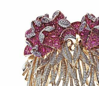 pink gold studded with diamonds represents