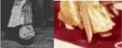 Surviving photos allowed us to see that she is wearing heels in the scene, but the shape and style of shoe seems to vary from photo to photo when they can be seen at all. (below, bottom).