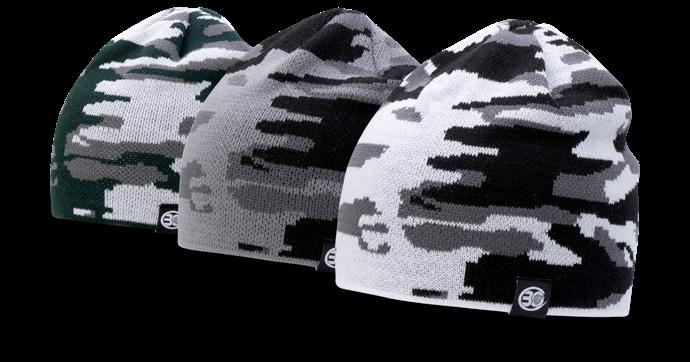 PATCH 132 JACQUARD CAMO BEANIE FIT: ONE SIZE FITS MOST SHAPE: 6 TOPSEAM KNIT FABRIC: 100% ACRYLIC COLORS: Dark Green/Charcoal