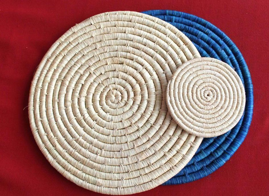 Apron and Pot Holders Item code: KTH100 raffia tablemats and coasters Simple and elegant, these tablemats and coasters are