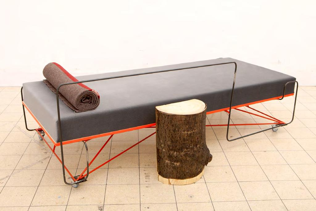 Daybed, 2015 steel bars, wood, foam material, grey