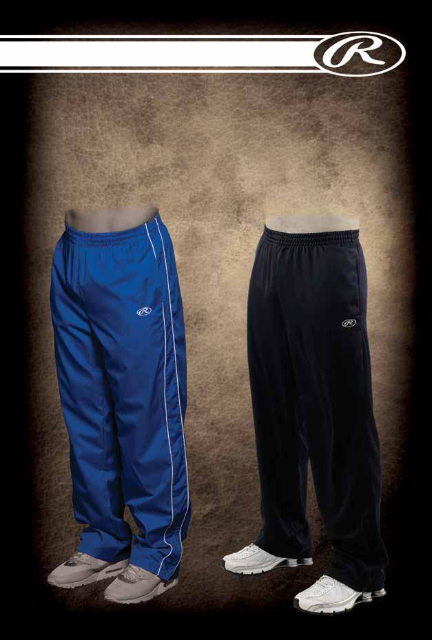 ,,, Steel, RP 9505 100% polyester double knit track pant. Covered elastic waistband and drawstring. 9 lower leg zip bottom and side pockets. Rawlings logo.