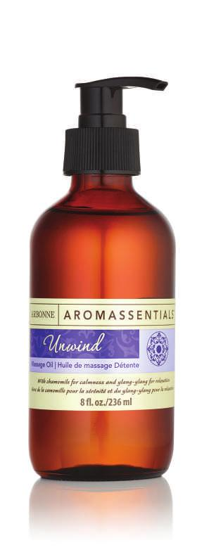 UNWIND MASSAGE OIL Lightweight, non-greasy oil glides on smoothly to moisturize skin proprietary, calming Unwind Essential Oil Blend Passion fruit oil, an emollient, nourishes dry skin and