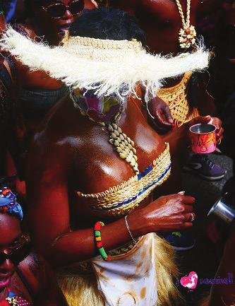 april 2019 #issue 3 Caribbean. Masqueraders choosing Kongo covered their body with black gwo siwo (fat syrup) produced with sugar cane.