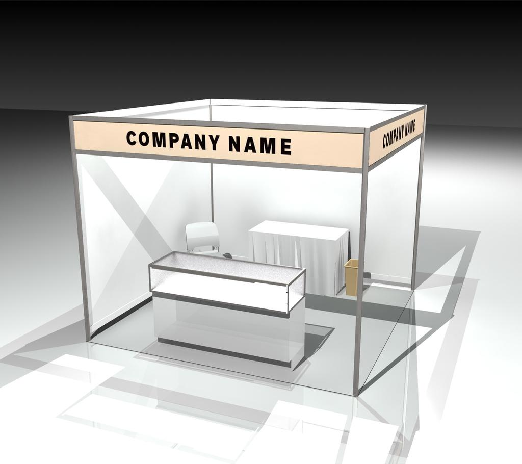 GENERAL INTERNATIONAL BOOTH PACKAGE 2019 10 x 10 Corner 10 x 10 corner: White fabric side and back walls w/ silver metal frame Graphic header will be printed based on company name listing in the