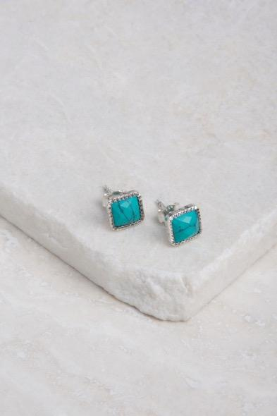 E1045 Small Turquoise Post Earrings, Turquoise.
