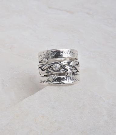 Braided Band Ring with CZ's, Cubic Whole
