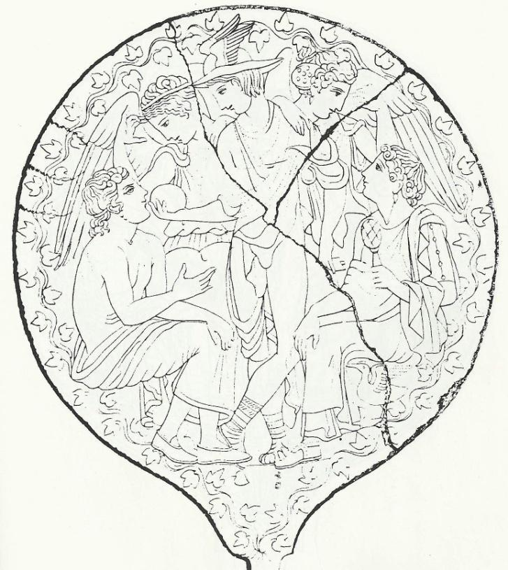 P a g e 102 Figure 49: Lausanne mirror: The delivery of the egg by Hermes. 4 th century BCE.