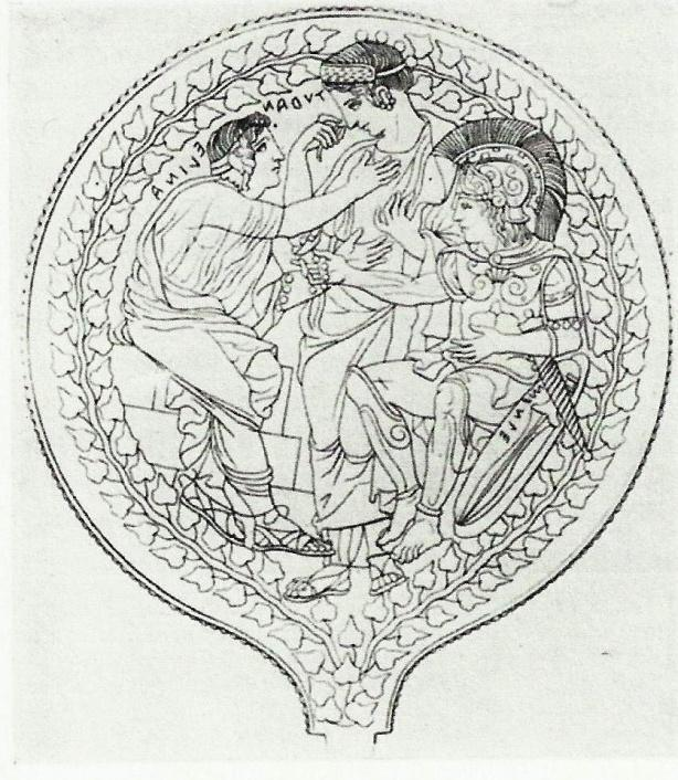 P a g e 93 Figure 30: Helen (Elina) beseeches Turan, while Menelaus (Menle) tries