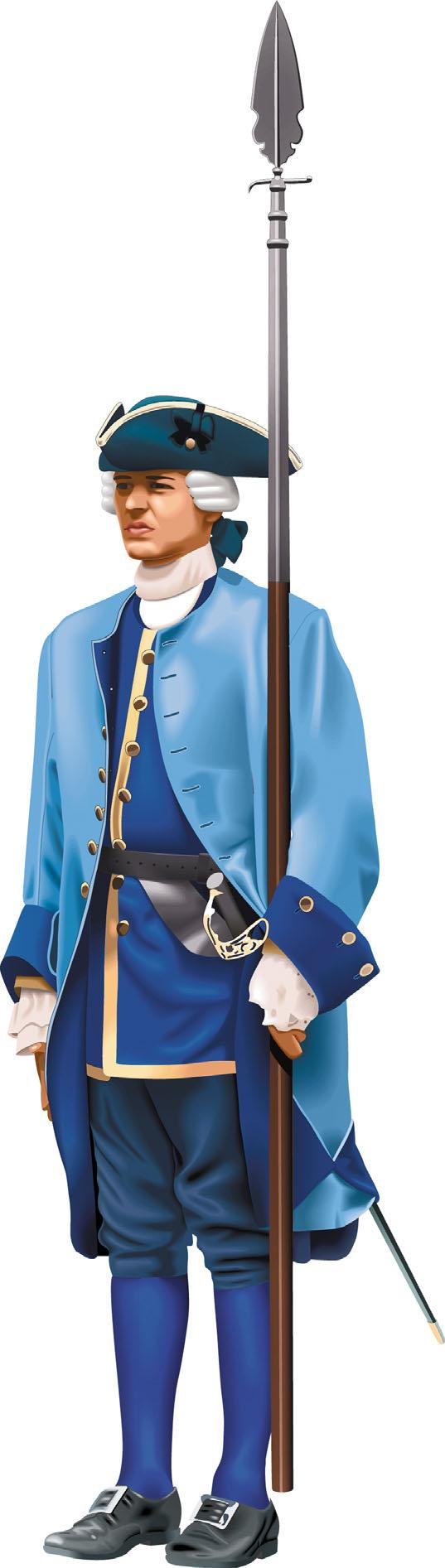 elements of ancient costume French soldier In the 18th century, French soldiers uniforms varied depending on their regiment and rank. spear A long wooden pole with a pointed steel head.