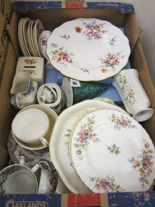Box of assorted china inc Wedgewood, Masons