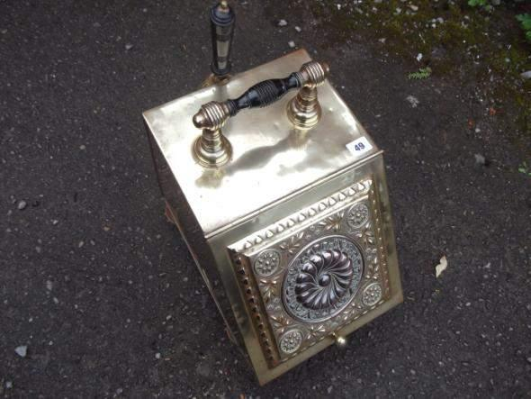 Brass coal scuttle, decorative