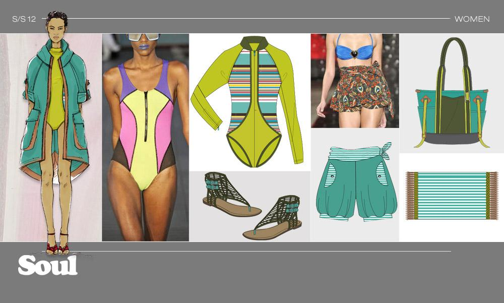 SURF - LOOK 1 Oversized cargo waterproof anorak / Printed inset panels on wetsuit / Color-blocked accents / Blouson shorts for