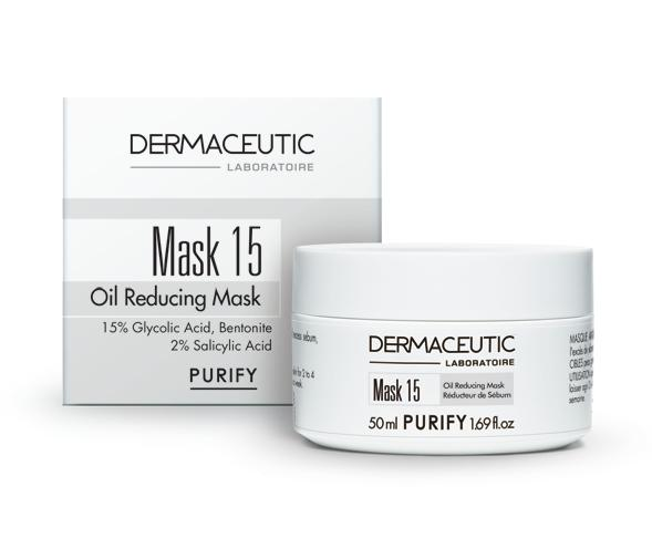 PURIFY Mask 15 OIL REDUCING MASK Astringent Clay Mask Removes dead cells and excess sebum, and purifies combination and oily skin. Mask 15 is recommended for oily skin, and skin that is prone to acne.