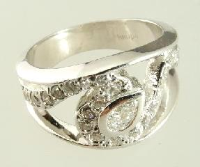 $400 - $500 Lot # 459 459 14K White Gold & Diamond Ring.