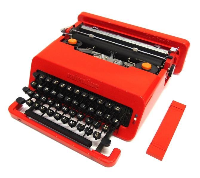 535 A DANISH BRASS, COPPER AND TEAK STANDARD LAMP 160cm high overall 542 ETTORE SOTTSASS (1917-2007) FOR OLIVETTI: a 'Valentine' portable typewriter in red plastic casing 536 A DANISH 1960S SPUN