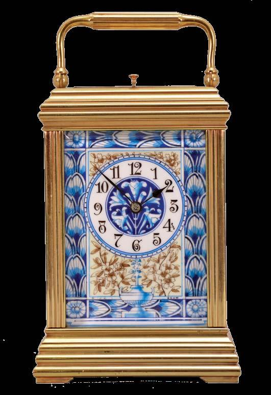 cream ground, also with floral ornament, and with blue, wheatear border, the Arabic numeral dial with ornament matching the side panels, blued steel spade and whip hands, two train, 8 day movement