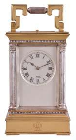 5in 656 France, a gilt and silvered, Anglaise Riche cased hour repeating carriage clock, the architectural case with stepped, molded base and cornice, the corners with Corinthian columns, solid back