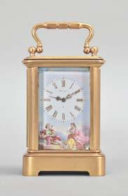 75in 663 France, a good hour repeating, Anglaise Riche variant carriage clock with alarm, the gilt case with molded base and fluted band supporting twisted columns with Corinthian capitals, the