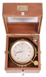 , Glasgow & Greenock, a two day marine chronometer with double auxiliary balance, 10 jewel fusee movement with Earnshaw s escapement, and freesprung, cut bimetallic balance with Poole s and Eiffe s
