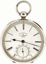 endstone, helical balance spring and gold timing screws in a sterling silver, hinged back and bezel open face case with London hallmark and date letter for the year 1912, Roman numeral, single sunk,