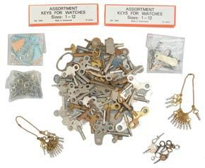 weight screws, complete fourth wheels, great wheels, maintaining power ratchets, fusee arbor wind indicator pinions, and more, together with a large number of Elgin chronometer box name plates, and