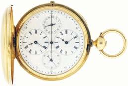 $1600-$2000 980 Switzerland, a man s two train gold pocket watch, with date, dead center seconds and two time zones, 29+ jewels, key wind and set gilt bar movement with counterpoised lever