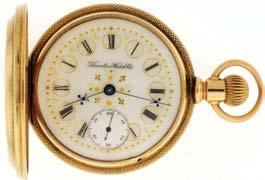 2g TW, c1915, with Hamilton leather covered, silk and velvet lined box. $1200-$1500 1048 Elgin Watch Co.