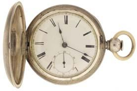 double sunk white enamel dial, blued steel spade and whip hands, serial #16186572, 79.6g TW, c1910. $700-$900 1064 Boston Watch Co., Waltham, Mass.