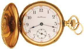 gold timing screws, gold wheel train and whiplash micrometric regulator in a 14 karat yellow gold, hinged back and snap bezel, plain polished open face case, Arabic numeral, single sunk white enamel