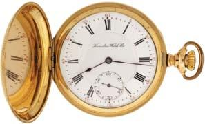 train and whiplash micrometric regulator in a yellow gold filled, engine turned and engraved hunting case, Roman numeral, outer red 5-minute markers, double sunk white enamel dial, plum colored steel