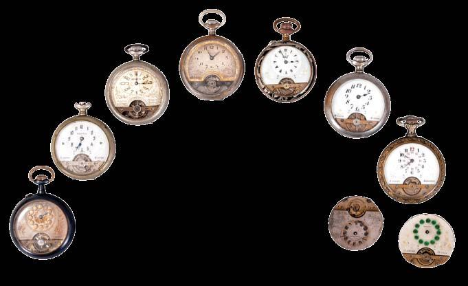1120 Lot of Hebdomas type pocket 8 day watches and movements, 6-7 jewel movements, metal and enamel dials, nickel, gun metal, and enamelled cases 1121 Lot of pocket and wrist watches and cases, and